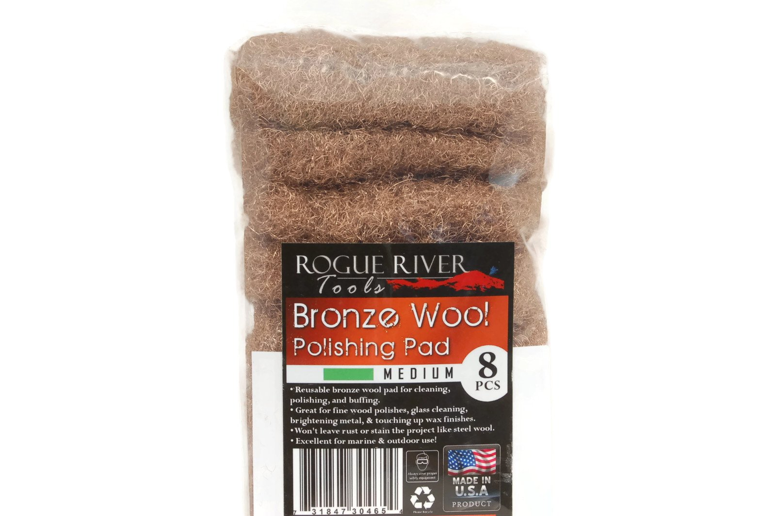 Rogue River Tools Bronze Wool Pads - Medium (8) by Rogue River Tools