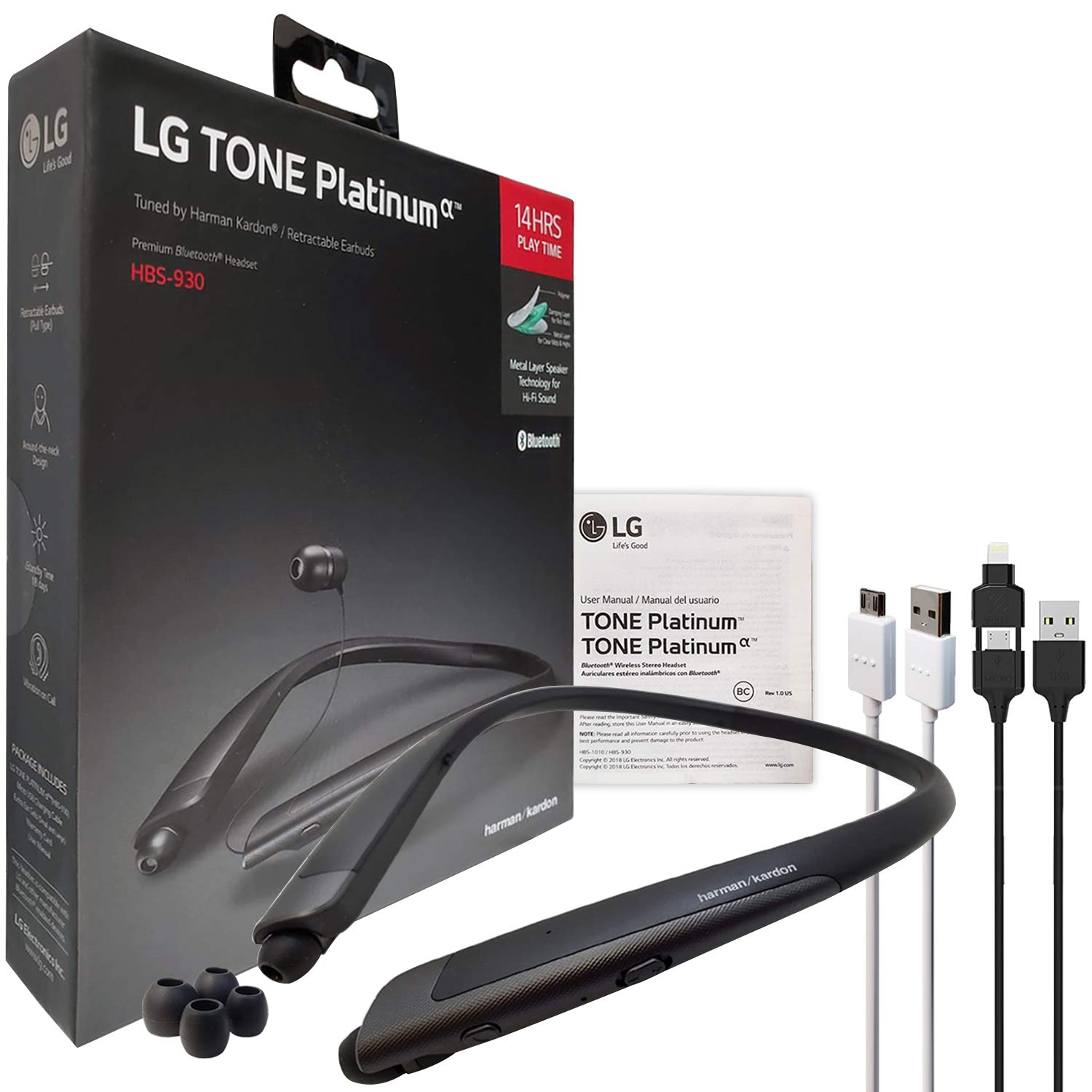 Amazon.com: LG Tone Platinum Alpha HBS-930 HD Bluetooth Headset Black- Harman Kardon with 2in1 USB Lighting & Micro (Retail Packing Kit): Cell Phones & ...