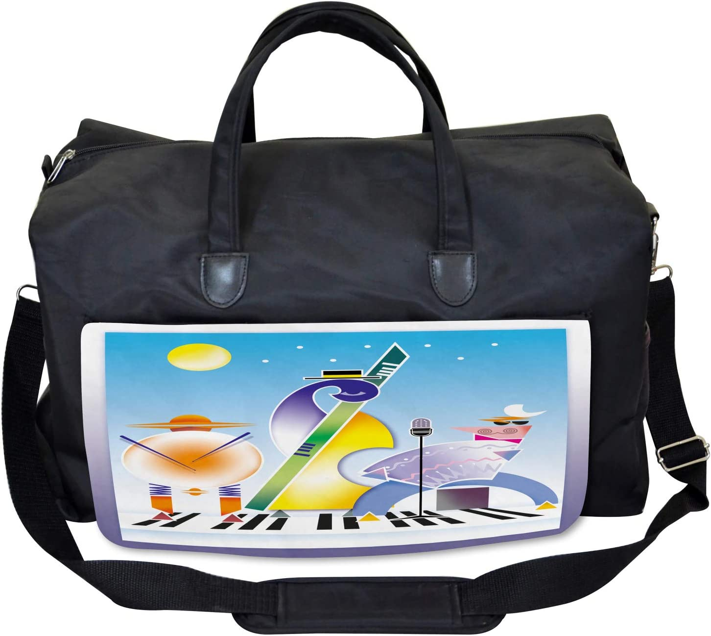 Large Weekender Carry-on Ambesonne Music Gym Bag Geometric Shapes Band