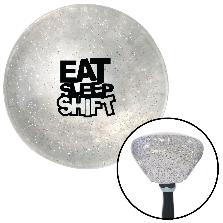 American Shifter 285924 Shift Knob Black Eat Sleep Shift Clear Retro Metal Flake with M16 x 1.5 Insert