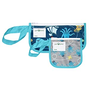 green sprouts Reusable Snack Bags (2 Pack) | Holds Food, Utensils, Wipes, & More | Food-Safe, Waterproof, Easy-Clean Material, Aqua Pirate