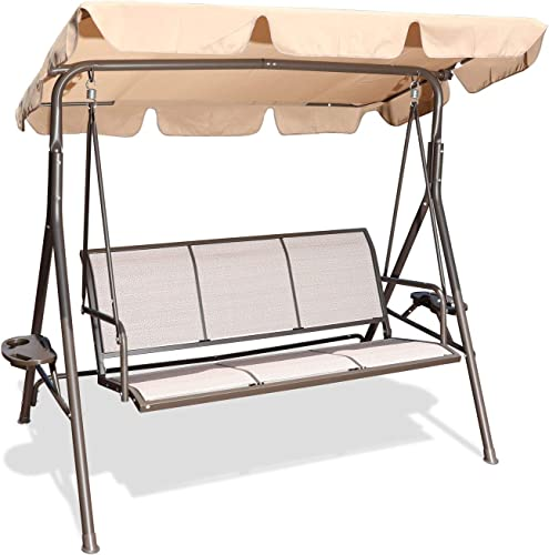 GOLDSUN 3 Person Patio Swing Seat with Adjustable Canopy, All Weather Resistant Hammock Swing Chair Bench for Patio, Garden, Poolside, Balcony Taupe