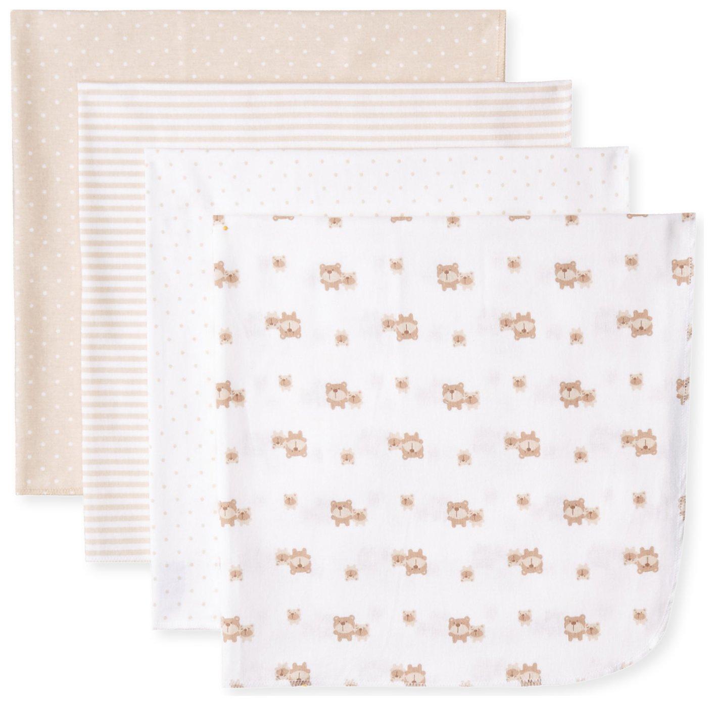 Gerber Unisex-Baby Newborn 4 Pack Flannel Blanket Bears, Brown, One Size