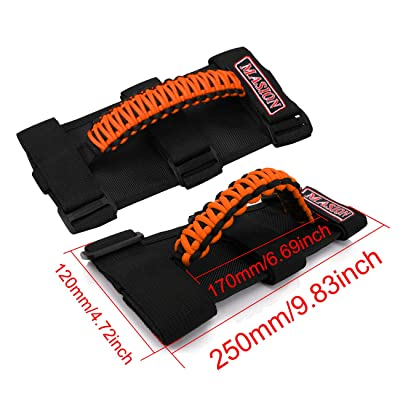 Jade Onlines Jeep Grab Handles 2 Pieces, Roll Bar Paracord Grab Handles for Jeep Wrangler YJ CJ TJ JK JKU JL JLU Red Jeep Grip Handles with 3 Velcro Straps and Woven Handle(Orange): Automotive