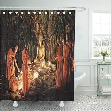 Genial Semtomn Shower Curtain Chiang Mai Thailand February 25 Makha Bucha Day Traditional  Shower Curtains Sets With