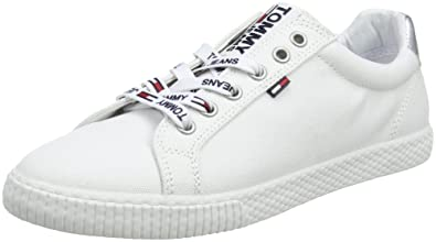 33946732cf61e5 Tommy Hilfiger Tommy Jeans Casual Sneaker Womens Trainers White Silver - 41  EU