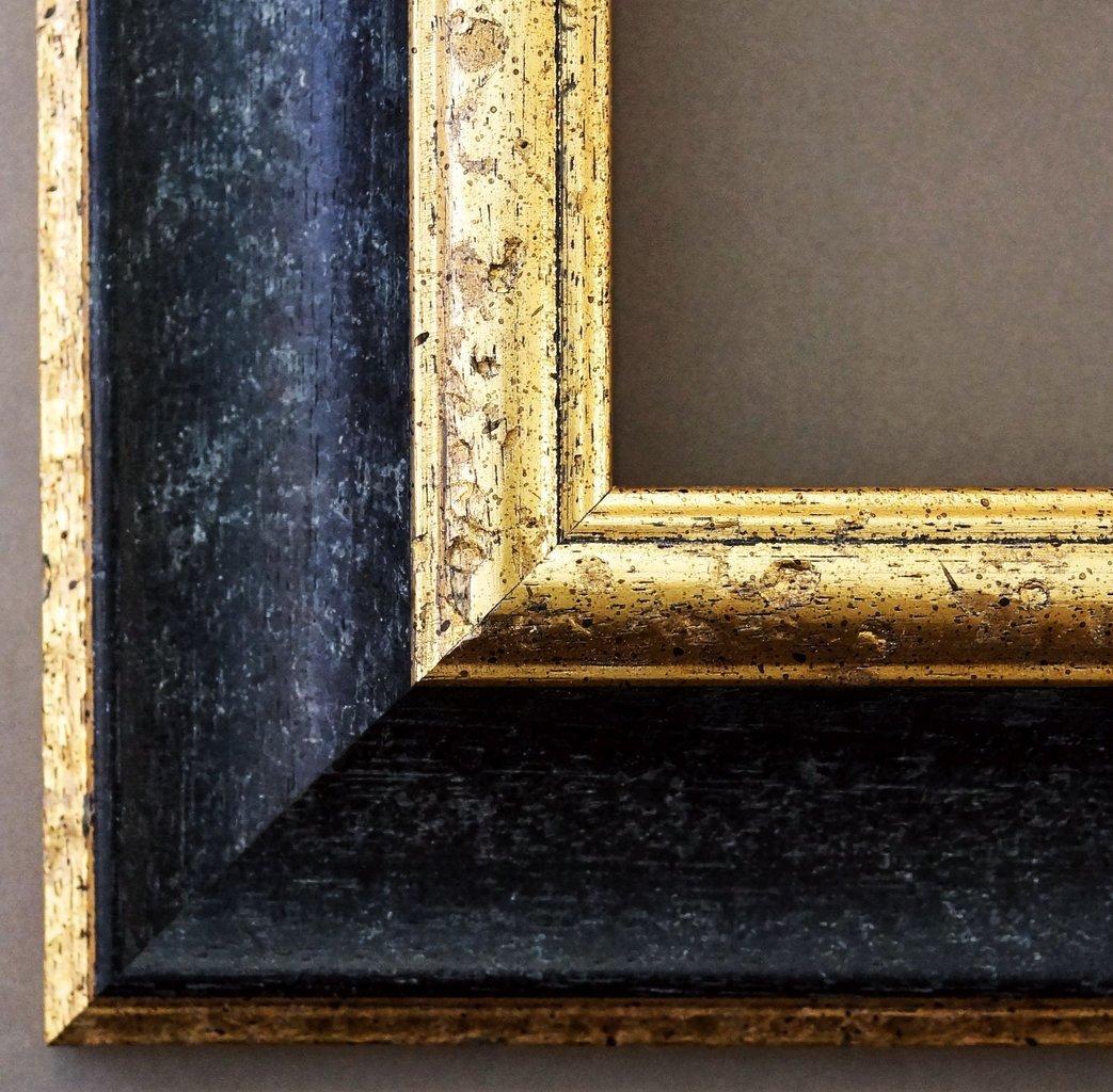 Bilderrahmen Acta Schwarz - Gold 6,7 - 40 x 80 cm - 4 Ausstattungsvarianten wählbar - Wechselrahmen mit Floatglas 2mm ( Normalglas) - Barock, Antik