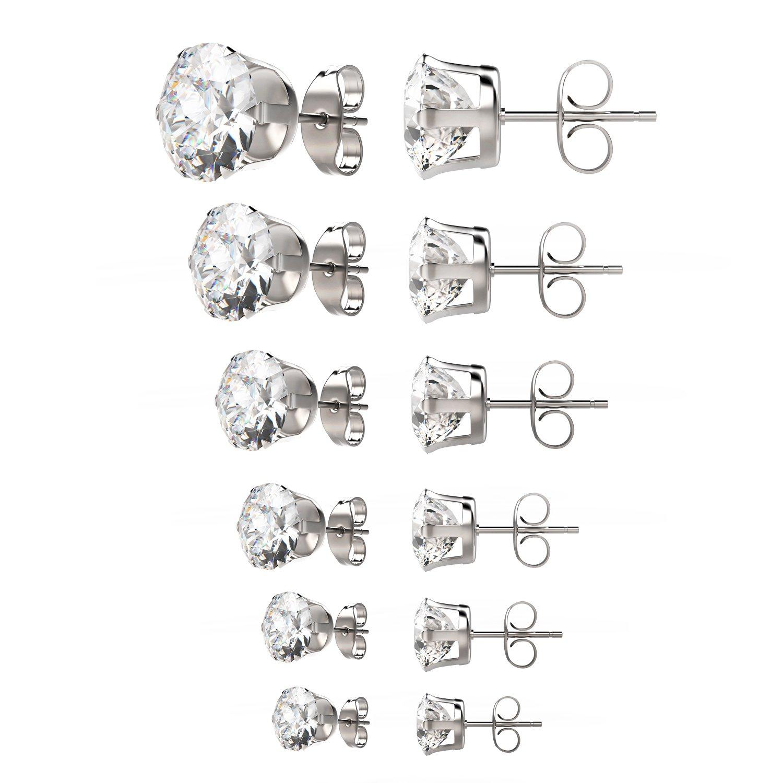 UHIBROS Womens Stainless Steel Stud Earrings Set Hypoallergenic Pierced Cubic Zirconia 6 Pairs 3-8mm SSE-R4