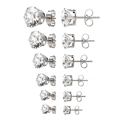 8 Pairs Stainless Steel Stud Earrings Zirconia Ear Ring Body Piercing, 4 Sizes, Silver