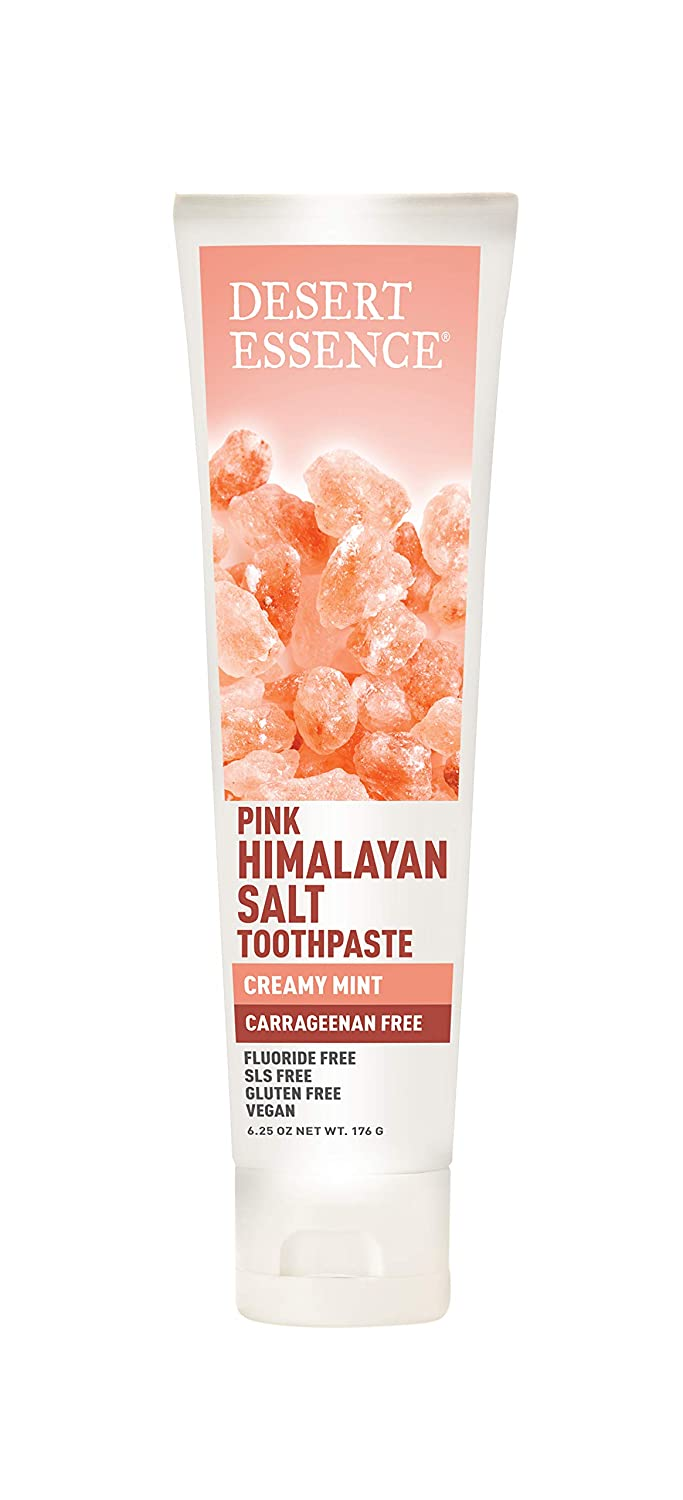 Desert Essence Pink Himalayan Salt Toothpaste - 6.25 Ounce - Creamy Mint - Complete Oral Care - Mineral Rich - Tea Tree Oil - Removes Impurities - Refreshing Taste - Deep Clean - Carrageenan Free
