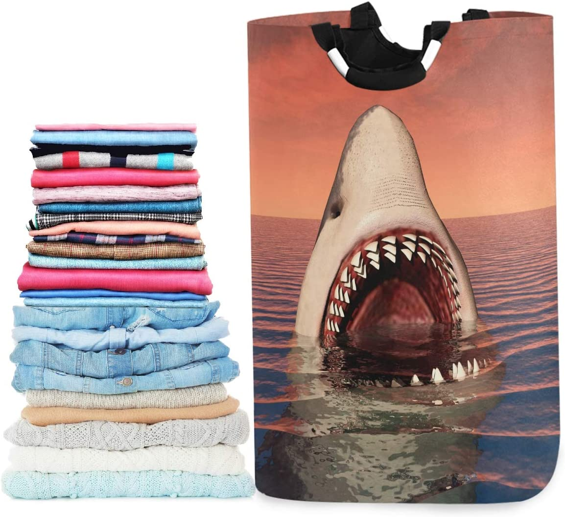 visesunny Collapsible Laundry Basket Shark Animal 3D Print Large Laundry Hamper Oxford Fabric Dirty Clothes Toy Organizer with Handle for Bathroom Kids Room Dorm