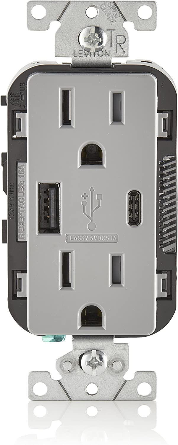 Leviton T5633-W 15-Amp Type A /& Type-C USB Charger//Tamper Resistant Receptacle 2-Pack White with Screwless Wallplates