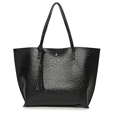 Amazon.com  Leo Lamb Fashion Casual Shoulder Bags For Women 2018 Pu Leather Tote  Bag With Tassel Large Capacity Soft Black 35X12X30 Cm  Shoes bec5b525bf08e