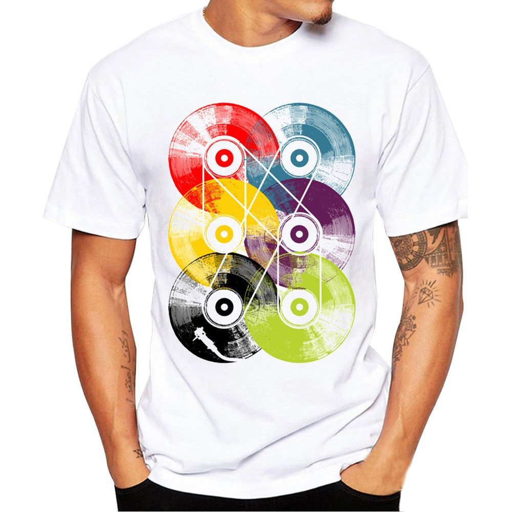 PASATO Summer Solid Men Personality Printing Tees Shirt Short Sleeve Loose T-Shirt Top Blouse(White,S=US:XS)