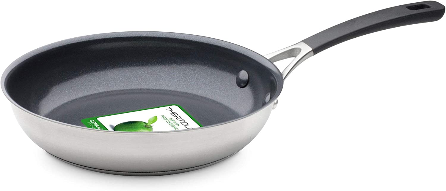 GreenPan CW002358-002 Minneapolis Stainless Steel 100% ToxinFree Healthy Ceramic Nonstick Metal Utensil/Induction/Dishwasher/OvenSafe Frying Pan - 20cm - Silver