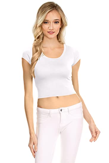 e0e313c3f Image Unavailable. Image not available for. Color: Womens Basic Short  Sleeve Scoop Neck Crop Top ...