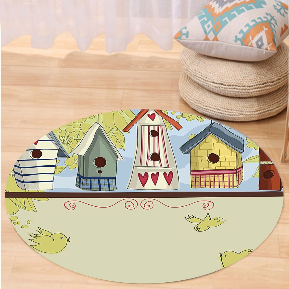 VROSELV Custom carpetAnimal Row of Birdhouses with Birds Hearts Leaves and Flowers Illustration for Bedroom Living Room Dorm Pistachio Green Beige Round 79 inches