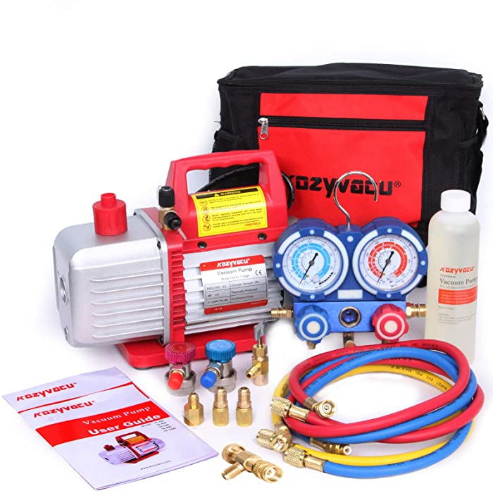 Kozyvacu Mini Split/HVAC/AUTO AC Repair Complete Tool Kit with 1-Stage 4.5 CFM Vacuum Pump, Manifold Gauge Set, Hoses and its Acccessories …