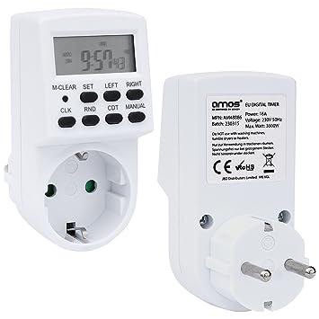 AMOS Temporizador Digital Interruptor de Enchufe Programador Semanal / Diario Minutero Programable con 20 Programas Pantalla LCD 230V 16A (1): Amazon.es: ...