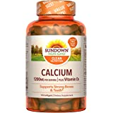 Calcium & Vitamin D by Sundown, Immune Support & Bone Health, 1200mg Calcium & 1000IU Vitamin D3, Gluten Free, Dairy…