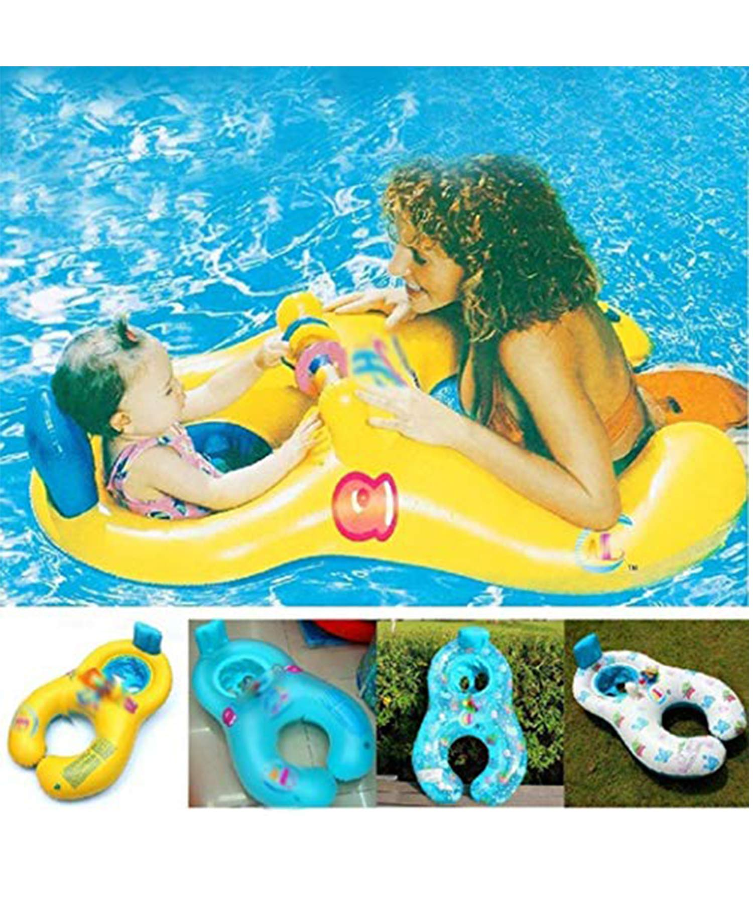 Yirind Mother and Baby Inflatable Swimming Float,Double Person Swimming Ring Toy for Kids (1-3 Years) by Yirind