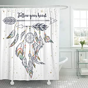 SPXUBZ Vintage Boho with Tribal Ethnic Arrows Feathers and Beads American Indian Motifs Follow Your Heart Shower Curtain Waterproof Bathroom Decor Polyester Fabric Curtain Sets with Hooks