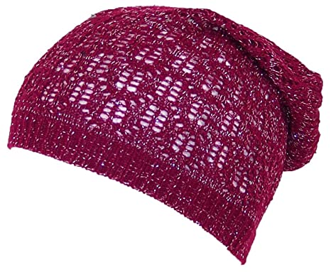 Dy Womens Loose Shimmery Lightweight Ladder Stitch Knit Skull Cap