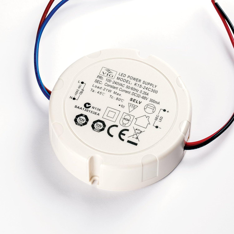 VIG LED Driver K15-24C300 32-68V 300mA 21W Treiber Trafo rund