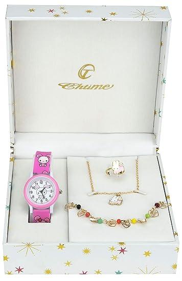 4d7d04678ab0 Bellos - Caja de Regalo Reloj Chico Rosa- Juegos de Joyas Conejo - Collar- Anillo- Pulsera  Amazon.es  Relojes