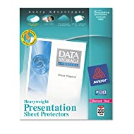 "Avery Heavyweight Diamond Clear Sheet Protectors, 8.5"" x 11"", Acid-Free, Archival Safe, Easy Load, 200ct (74400)"