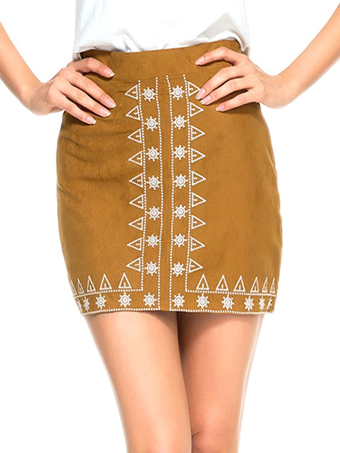 Gamery Women's High Waist Faux Suede Embroidery Button Closure Plain A-line Mini Skirt Large Brown