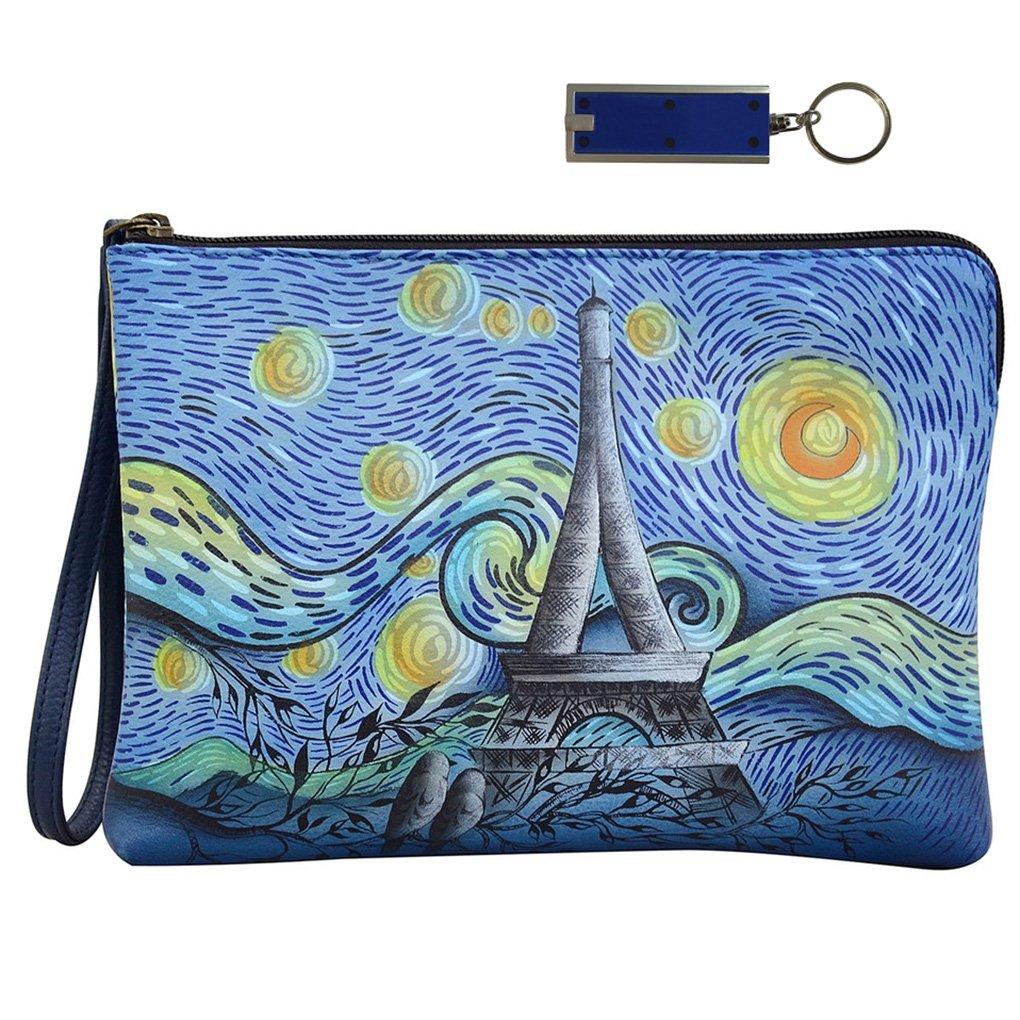 Anna by Anuschka Leather Zip Around Clutch Wristlet Wallet key Fob Bundle (Love in Paris)