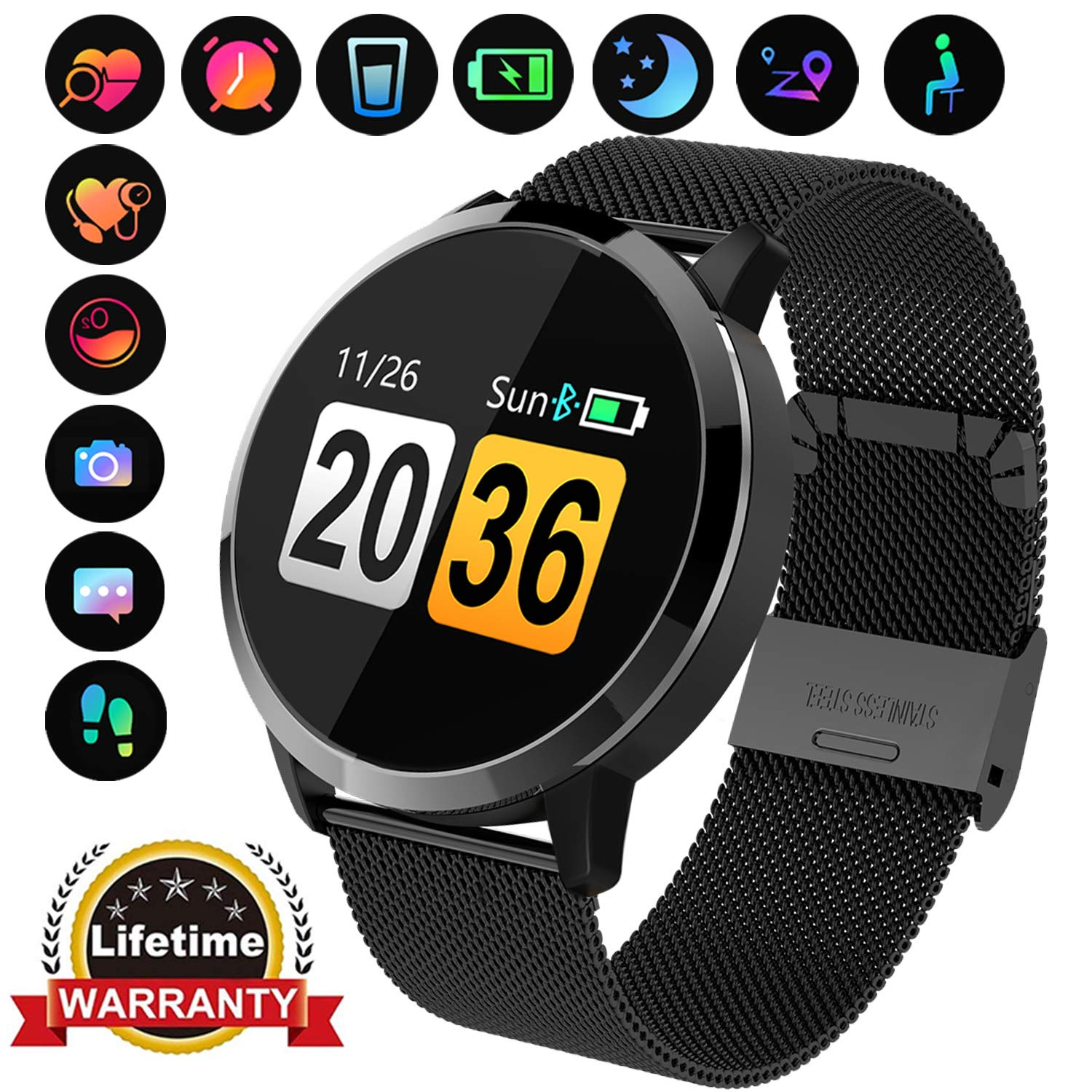 Fitness Tracker with Blood Pressure Monitor Bluetooth Smart Watch with Camera Touchscreen Waterproof Smartwatch Android iOS Heart Rate and Activity ...