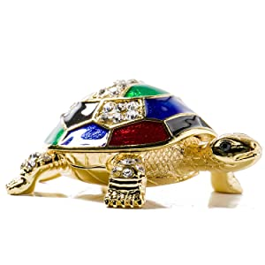 Waltz&F Collectible Figurines Decor Ornaments Pewter Trinket Boxes Bejeweled Turtle with Crystals