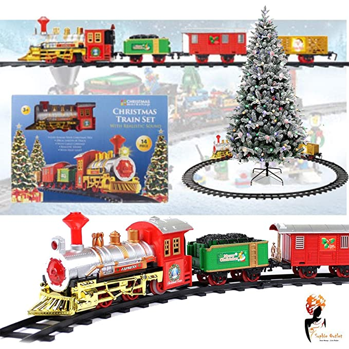 Christmas Tree Train.Christmas Express Holiday Festive Train Set Toys Track Light Sound Xmas Gift By Lizzy