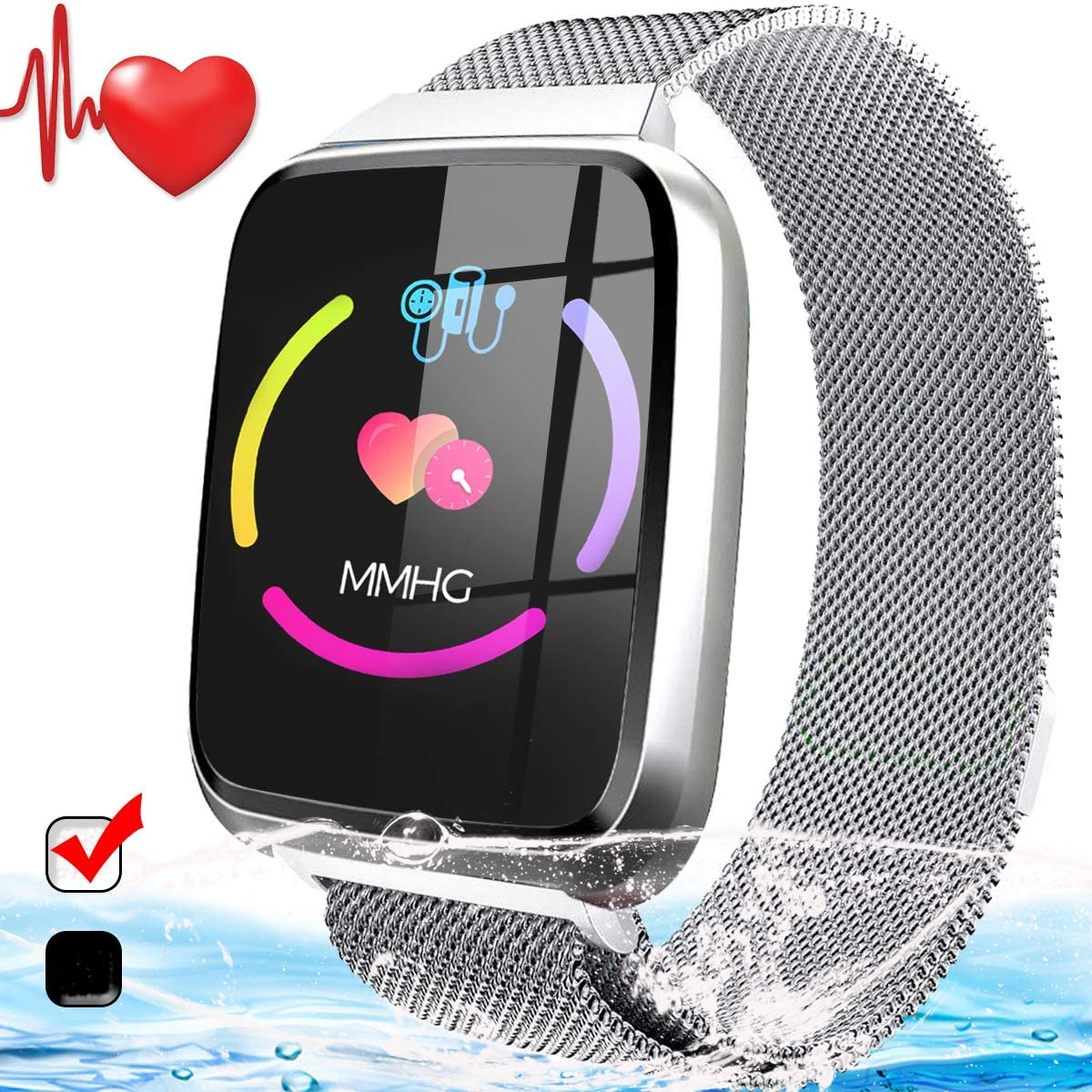 Fitness Tracker with Heart Rate Monitor – Smart Watch Activity Tracker for Women Men Waterproof Smart Fitness Bracelet with SMS Blood Pressure Monitor Pedometer Sport Smart Watch for Teen Girls Boys
