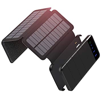 Cargador Solar 10000mAh, ADDTOP Batería Externa Solar Power Bank