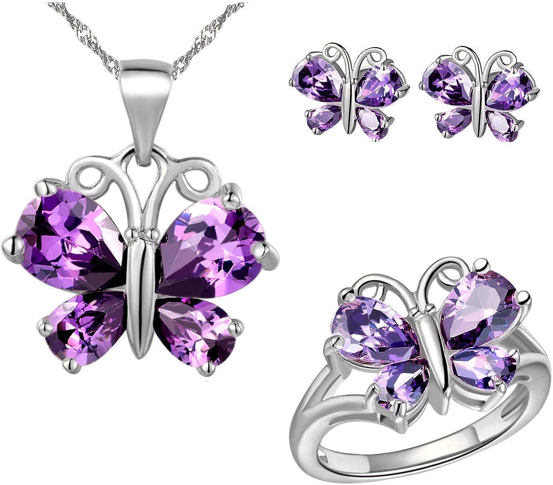 Uloveido Platinum Plaqu/é Or Rose Violet Cristal Blanc Oxyde de Zirconium Cute Charm Collier avec Pendentif Papillon Oreilles et Bague Ensemble de Bijoux pour Filles//Femmes