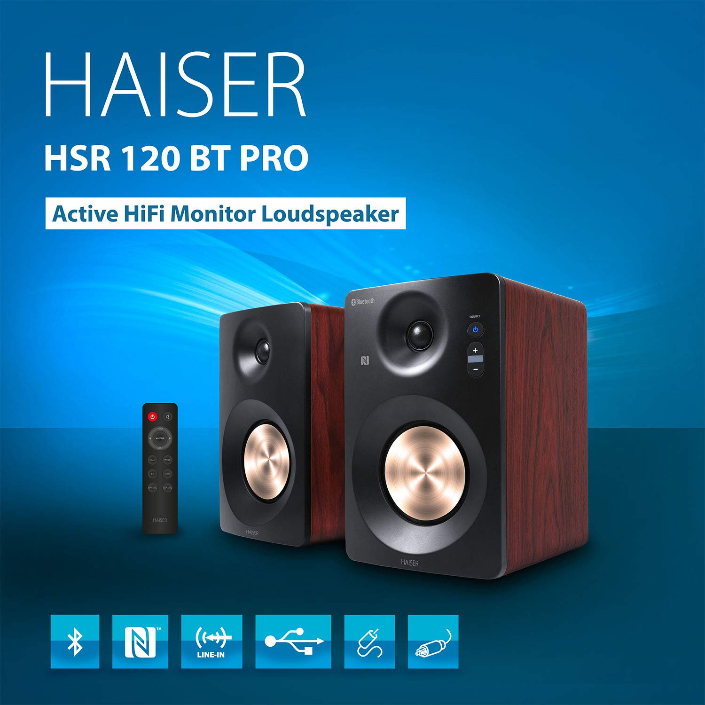 Studio-Monitore Aktiv-Lautsprecher-System Regal-Lautsprecher Multimedia-Monitore PC-Lautsprecher HAISER HSR 120 BT 60 Watt RMS Aktiv Studio-Lautsprecher Paar mit Bluetooth NFC Boxen Neodym