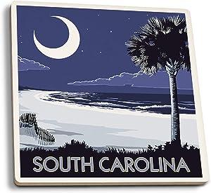 Lantern Press South Carolina - Palmetto Moon (Set of 4 Ceramic Coasters - Cork-Backed, Absorbent)