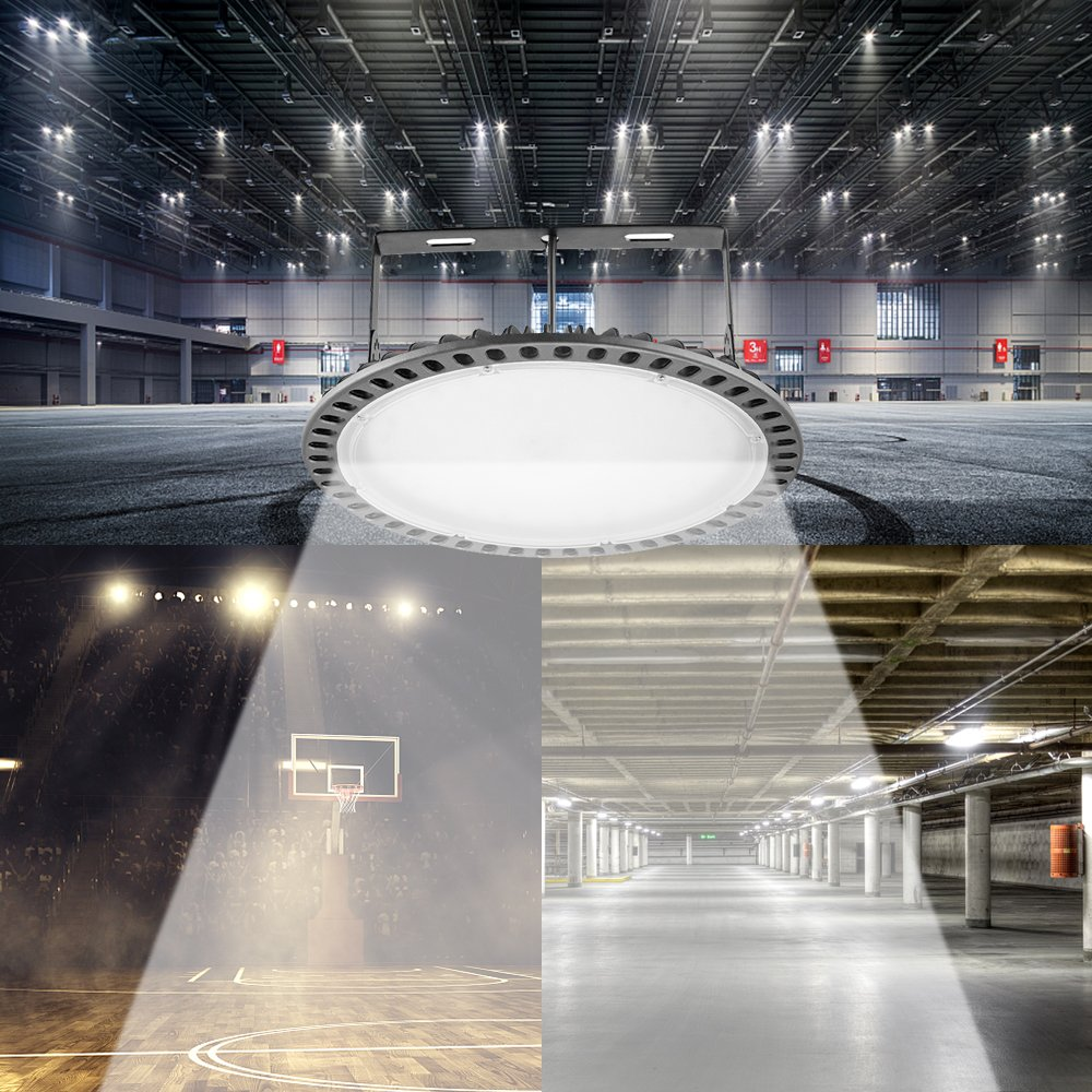 Viugreum LED High Bay Light 200W UFO Hi Bay Lighting Workshop Ship from USA,take 3-7 Days to You ZG1220010 Factory Gym Basement 16000LM Daylight White 6000K Commercial Industrial Chandelier for Garage