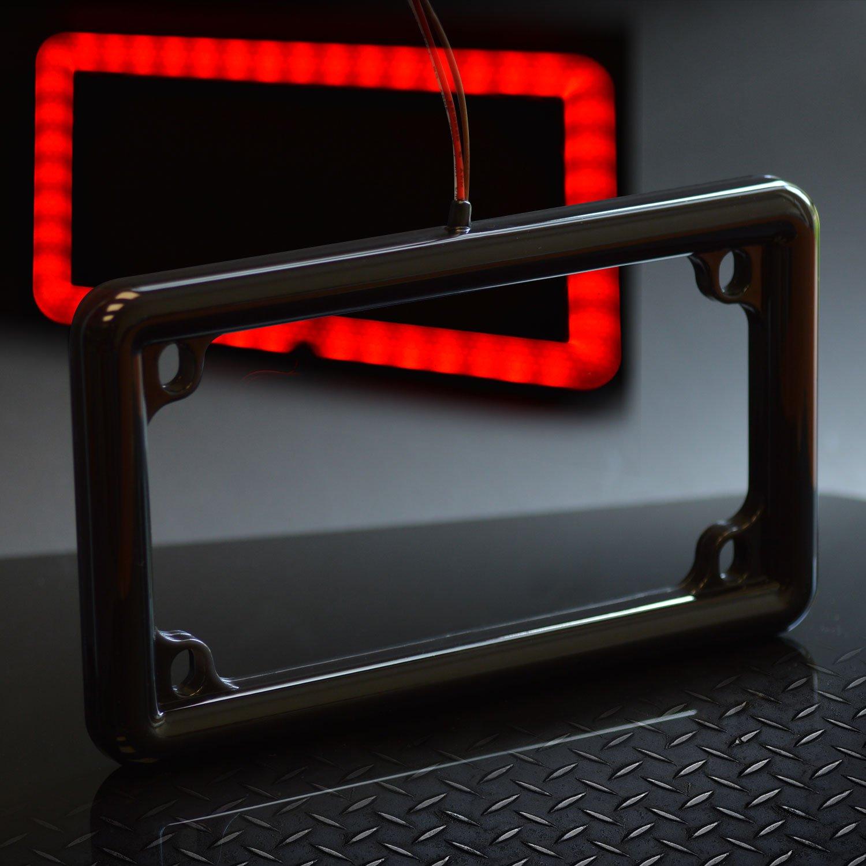 Motorcycle License Plate Frame Universal 12V LED Lighting (2Function, Black)