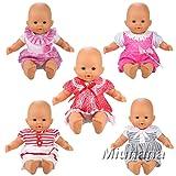 Miunana 5 PCS Fashion Clothes Dresses For 12 -14 Inch Baby Dolls Newborn Dolls