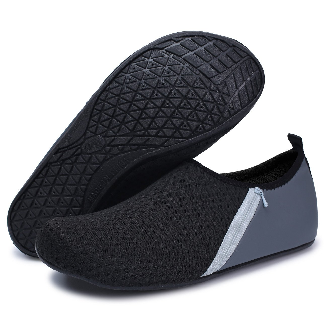 FEETCITY Hombres Zapatos de agua Zapatos de natación para mujeres de secado  rápido Descalzo Beach Surf Boat Yoga Sneakers Bolsillo gris e46416a5cb2