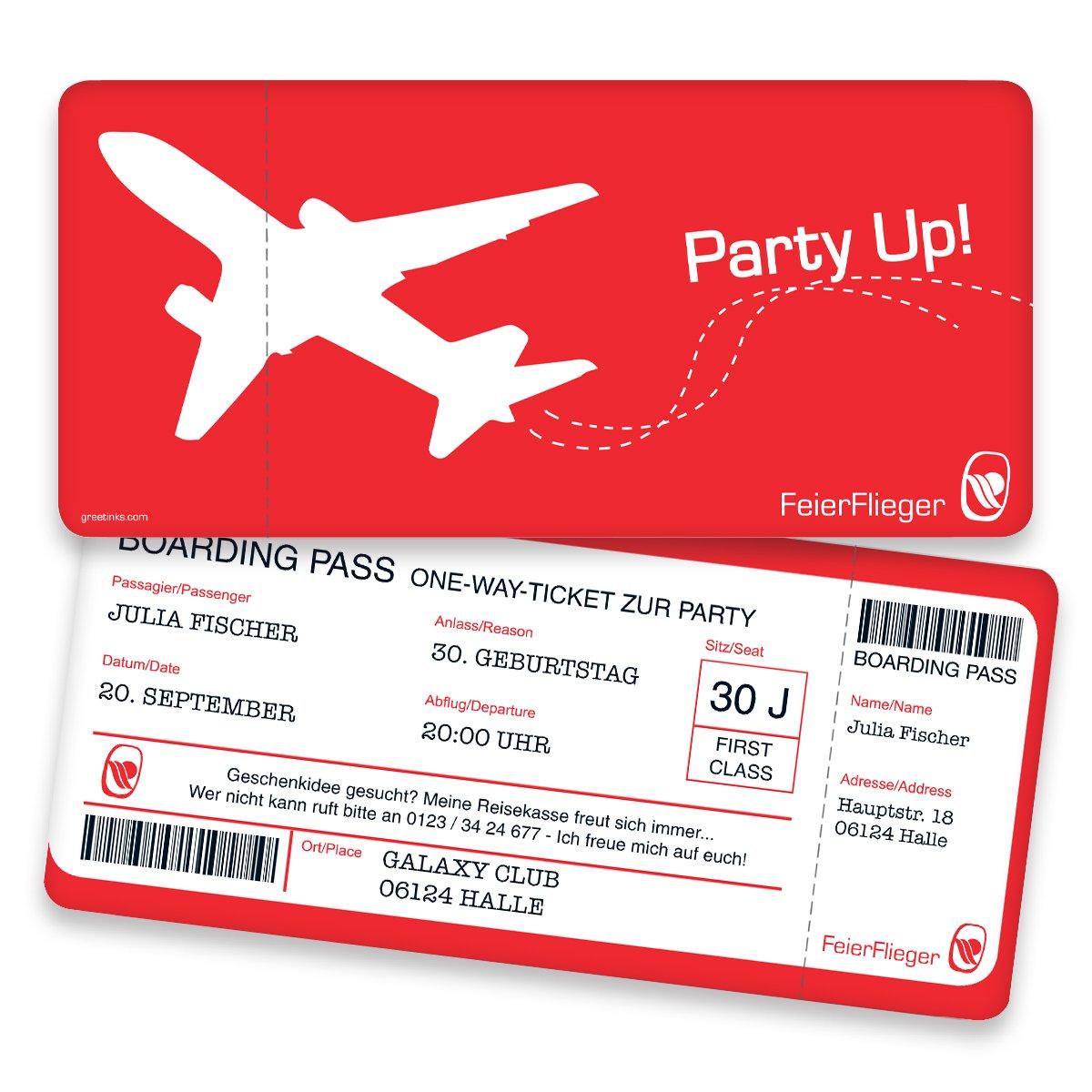 Einladungskarten zum Geburtstag - Boarding Pass   40 Stück   Inkl. Druck Ihrer persönlichen Texte   Individuelle Einladungen   Karte Einladung B01N8122WP | Ästhetisches Aussehen  | Shop Düsseldorf  | Auf Verkauf