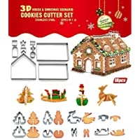 Joinor 18PCS/Set DIY Stainless Steel Christmas Series Cookie Cutter 3D Gingerbread House Biscuit Mold Fondant Cake…