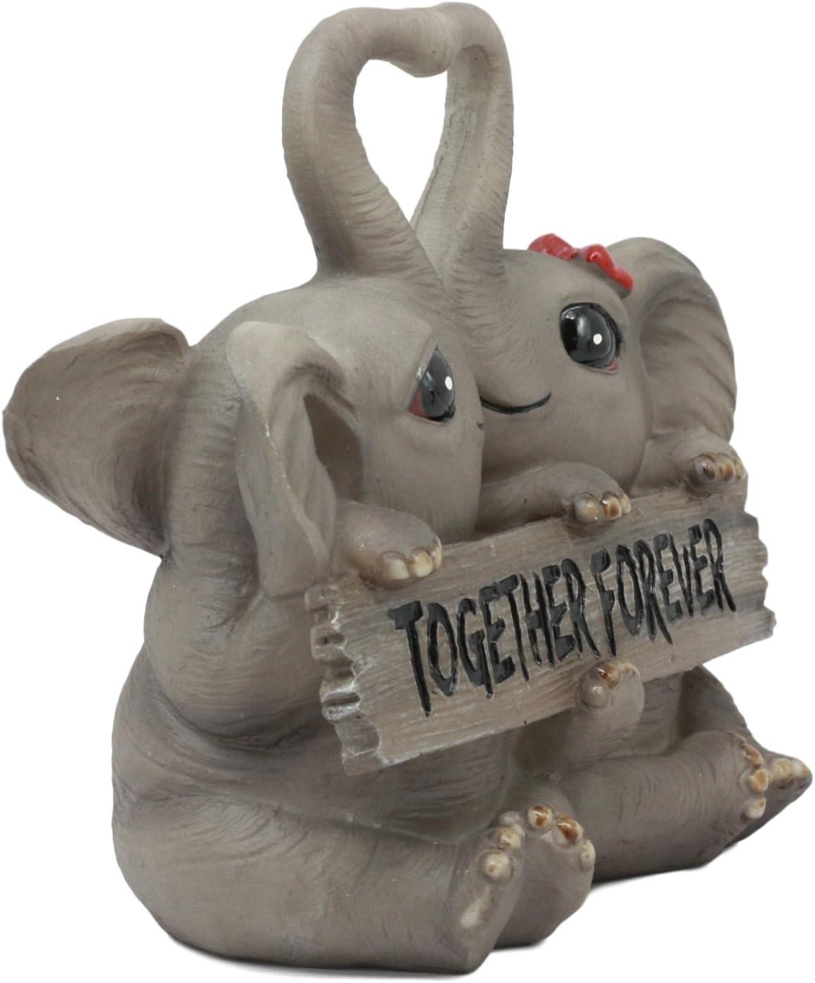 Pair of Entwined Kissing Elephants Elephant Heart Art Figurine Ornament  Gift