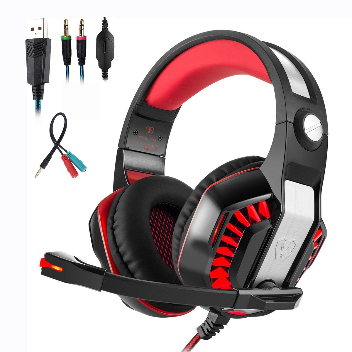Mengshen 3.5mm Stereo Gaming Headset - with Microphone and LED Light for PC, PS4 and Xbox one - Designed for Computer Gamer, GM2 Red