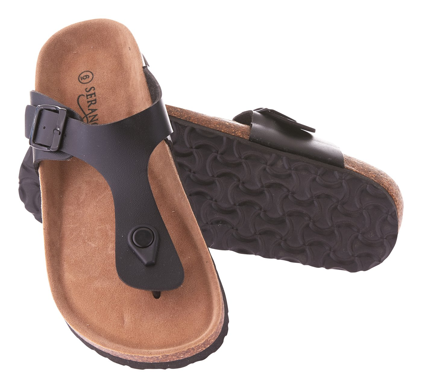 Seranoma Women's Thong Sandal Platform with Cork Wedge Sole & Microfiber Insole