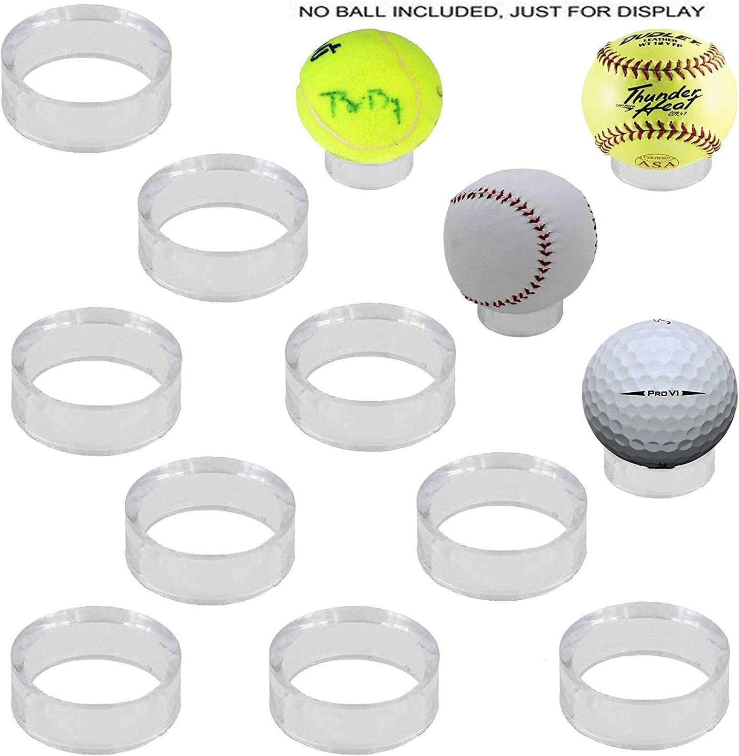 Does not Include Ball Clear Acrylic Round Pedestal Display Stand Ring Holder for Baseball Volleyball Softball Soccer Ball Tennis Billiard Bowling Ball Pack of 10